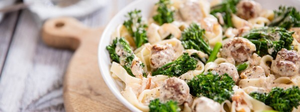 Tenderstem® broccoli Tagliatelle with Creamy Sausage & Fennel Seed Sauce
