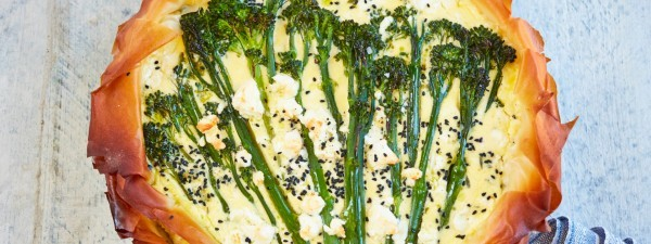 Tenderstem® broccoli, yoghurt and feta filo tart