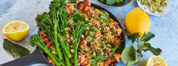 Pilafi with Tenderstem® broccoli, sour cherries and pistachios