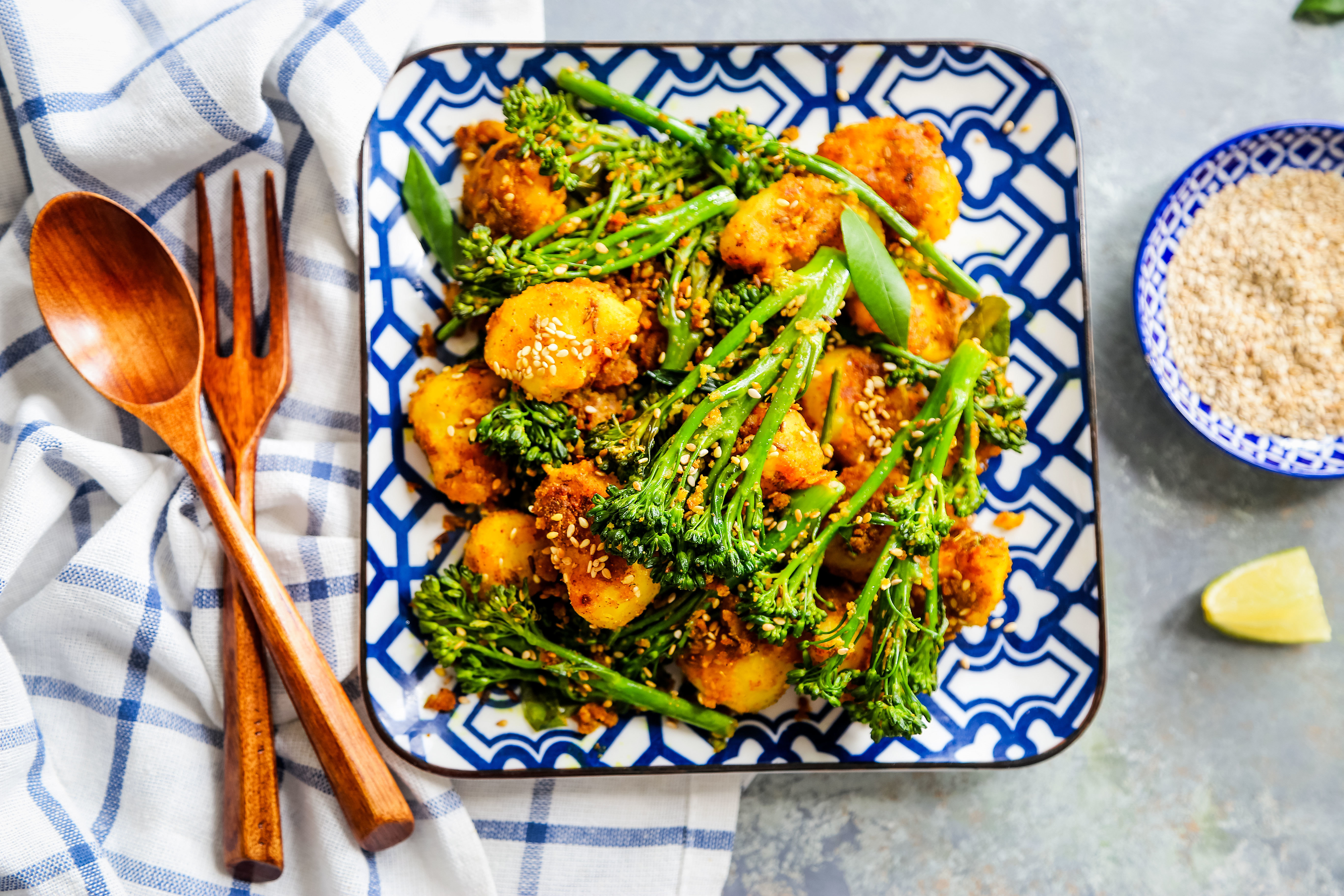 Indian spiced tiwale aloo with Tenderstem 4