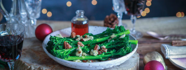 Tenderstem broccoli blue cheese pecans
