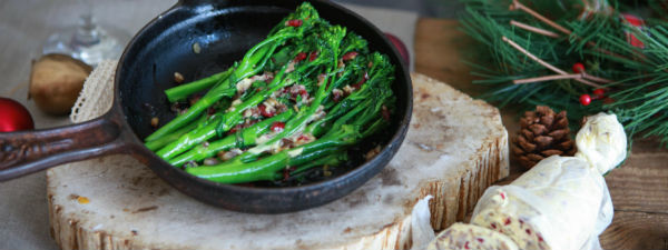 Tenderstem broccoli christmas butter
