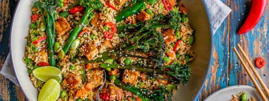 Tenderstem broccoli stir fry rice